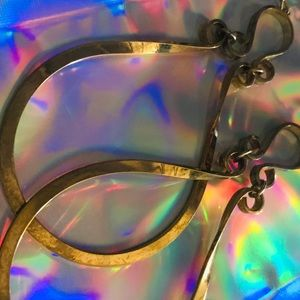 Huge Gold hoop vintage earrings Betsey Johnson